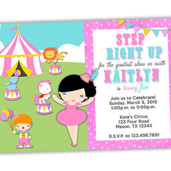 Girls Circus Birthday Invitation - Ballerina Invitation - Pink Circus Invitations - Girl Birthday Party Ideas - Custom Hair and Eye - Fair