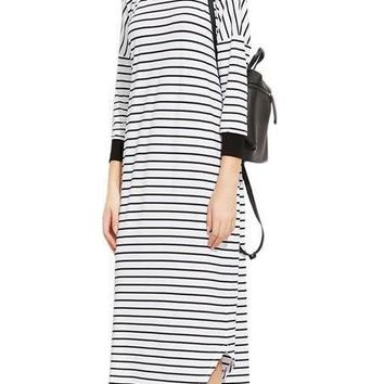 SheIn Women Autumn Long Sleeve Dresses White Striped T-Shirt Dress Casual Contrast Trim Drop Shoulder Loose Tee Dress