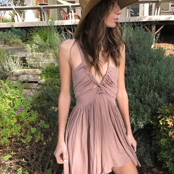 WASTED TIME TWIST DRESS- MOCHA from shopoceansoul