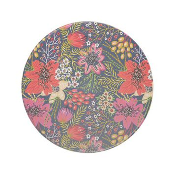 Vintage Bright Floral Pattern Fabric Drink Coaster