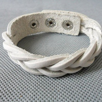 Adjustable leather bracelet woven bracelet buckle bracelet men bracelet women bracelet girls bracelet made of white leather woven SH-2317
