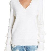 Derek Lam 10 Crosby Tiered Ruffle Sleeve Sweater | Nordstrom