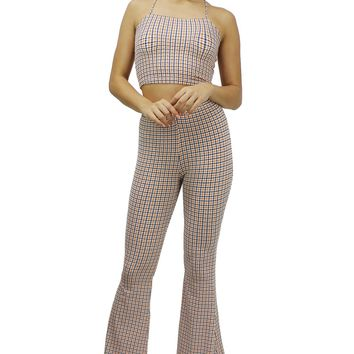 Houndstooth Pattern Crisscross Back Crop Top and Flare Pants Set