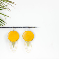 Big round wood, chandelier earrings by See Rue. Brass triangle. Handmade yellow wood button earrings. lead and nickel free