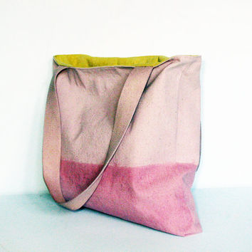 Large canvas tote bag shoulder bag handbag shopping bag purse ombre nude pink color block repurposed upcycled canvas drop cloth