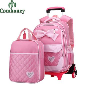 Princess Style Children Backpack for Girls Cartoon Korean Style Trolley School Bags Kids wheeled Book Bags Mochilas Escolares