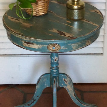Shabby Chic Blue Pedestal Table 1940s