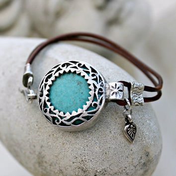 Summer Sale 20% Off - Bohemian Leather Bracelet - Silver, Turquoise, Gemstone, Blue, Brown,
