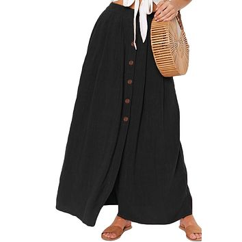 Casual Black Buttoned Maxi Skirt