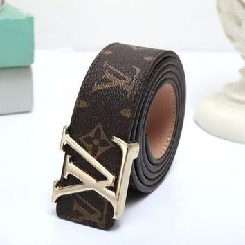 DCCK6HW Louis Vuitton' Fashion Unisex Classic Letter Logo Needle Buckle Leather Belt Waistband
