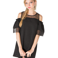 Mesh Shoulder Cutout Ruffled Sleeve A-line Mini Dress