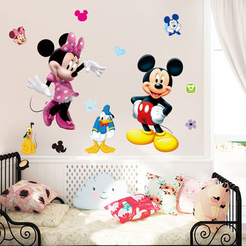 50x70cm Lovely Mickey Mouse Minnie Wall Stickers for Kids Rooms Vinyl Mural Home Decor