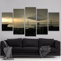 Star Destroyer over City Star Wars Canvas Five Piece Home Decor