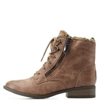 Taupe Shearling-Lined Combat Booties by Qupid at Charlotte Russe