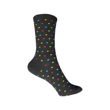 Pindot Heart Repeat Crew Socks in Dark Brown
