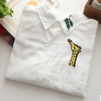Japanese  Cotton Casual Blouse Female Turn-down Collar Long-sleeve White Tops Women Embroidery Giraffe Leaves Shirt female tops