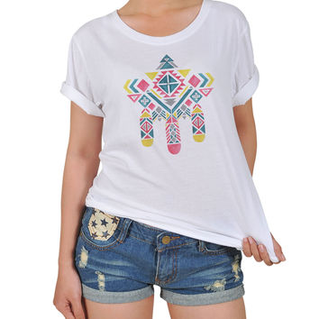 Women Aztec Tribal Graphic Printed Cotton T-shirt  WTS_12