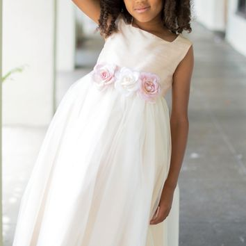 Silk & Tulle Overlay Girls Occasion Dress with Floral Waist in White or Ivory (Girls 2T to Size 12)