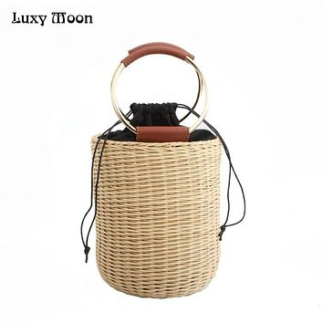Luxy Moon Evening Clutch Bags New Arrival Woven Bucket Bag Drawstring Portable Metal Round Handle Small Straw Hand Bags ZD797