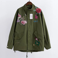 Harajuku Red Rose Flower 3D Appliques Embroidery Pike Jacket  Women Stand Collar Loose Coat Casual Outerwear Army green