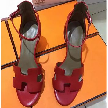 Hermes summer new comfortable wedge sandals F0217-1 red