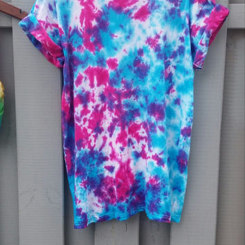 Galaxy Tie Dye Shirt, bright colors, blue, pink