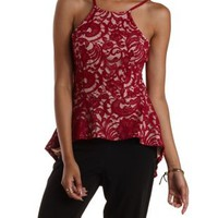 Wine High-Low Lace Peplum Top by Charlotte Russe