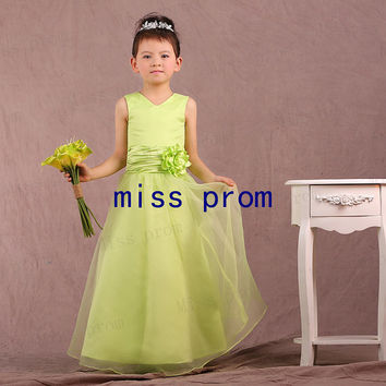 V-neck organza and satin with flowers flower girl dress