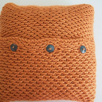 Mod Style Orange Knit Pillow Cover 15x15 Home Decor