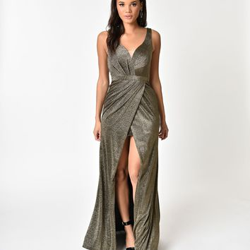 Black & Gold Metallic Sexy Long Dress