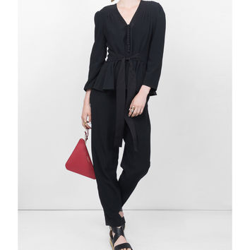 Stella McCartney Belted Jumpsuit - Black Viscose Jumpsuit