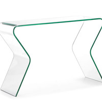 Respite Console Table Clear Tempered Glass