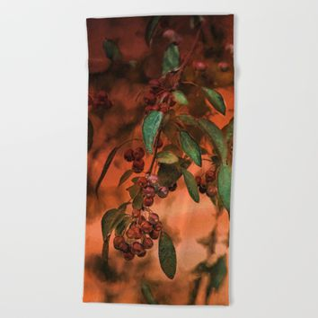 Red Berry Tree at Sunset Beach Towel by Theresa Campbell D'August Art
