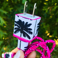 Pink Palm Tree iphone 5 6 7 Charger