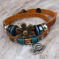 leather bracelet with silver beads, metal fashionable bracelet, silver flower bracelet, snail bracelet
