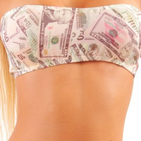 Sexy Dancers Tube Top Money Print Stripper Clothing