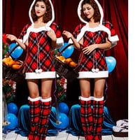 Christmas Plaid Hooded A-Line Mini Dress Set