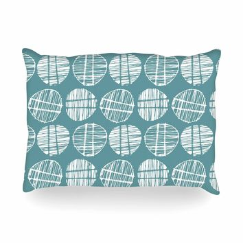 "Gill Eggleston ""Sketched Pods Teal"" Teal White Abstract Modern Vector Digital Oblong Pillow"