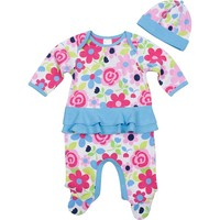 Jockey Floral Ruffled Sleep & Play - Baby Girl (Pink/Blue)