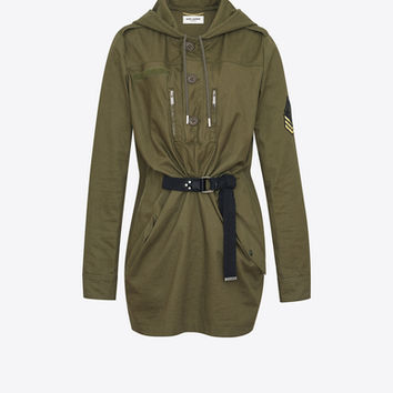 Parka Dress in Khaki Cotton Gabardine