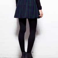 Green Tartan Lark High Waisted Skater Skirt
