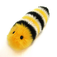 Monte Monarch Caterpillar Stuffed Toy Fuzzy Yellow and Black Snuggle Worm