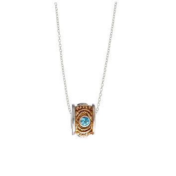 March Blue Topaz Sterling Silver with 14k Gold Vermeil Bead Necklace