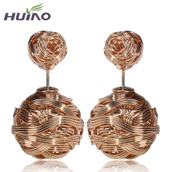 2015 Cc Brincos Trendy Women Pendientes Hot Selling New Silver gold And Gun Color Double Metal Wire Wrapped Sides Stud Earrings