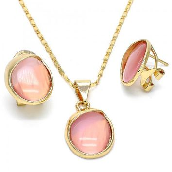 Gold Layered 10.248.0002 Necklace and Earring, with Pink Opal, Polished Finish, Gold Tone