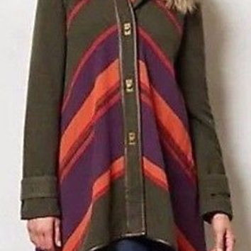 Anthropologie Chevron Sweep Poncho Coat Sz S - By Cartonnier - NWT