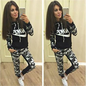 NIKE Fashion Casual Multicolor Camouflage Letter Print Long Sleeve Hooded Set Two-Piece Sportswear-1