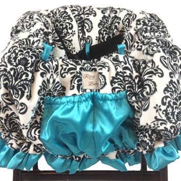 Fancy Minky Damask/Turquoise Shopping Cart Cover