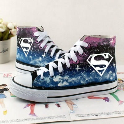 447cb18059d Galaxy Shoes Hand Painted Shoes superman canvas shoes sneakers high top  shoes = 194686