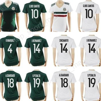 Women Mexico Soccer Jersey 2017-2018 Woman Mexican Football Shirt Lady 10 G DOS SANTOS